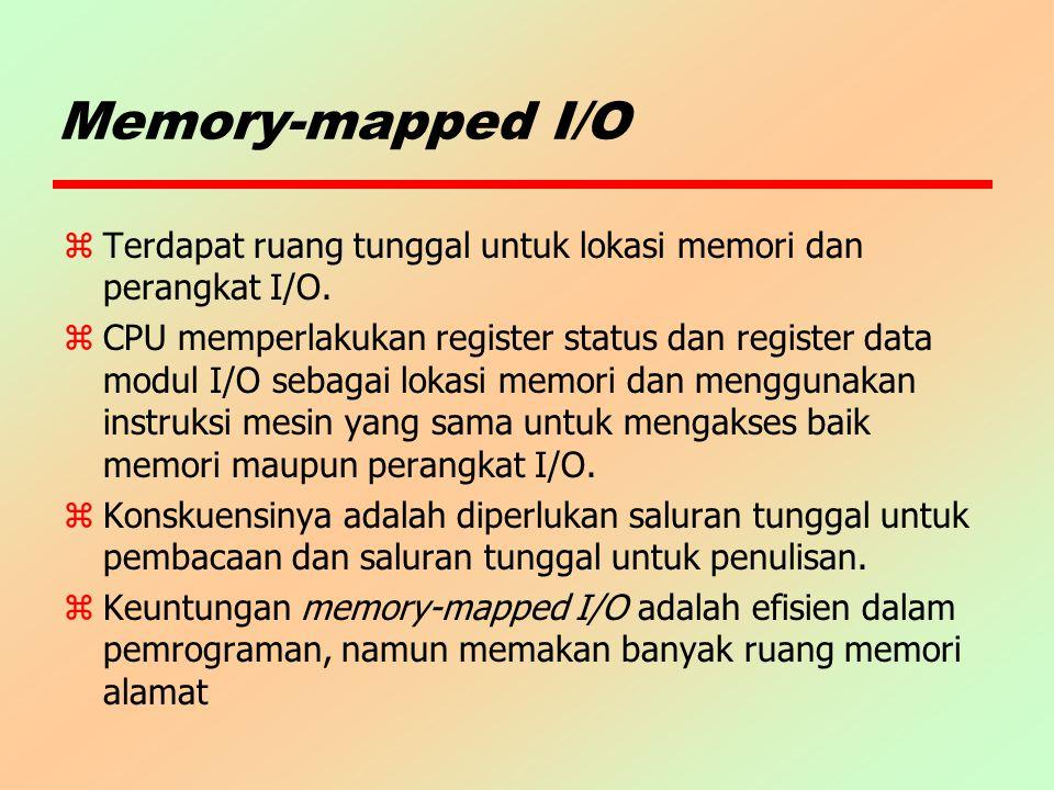 Memory-mapped I/O Terdapat ruang tunggal untuk lokasi memori dan perangkat I/O.
