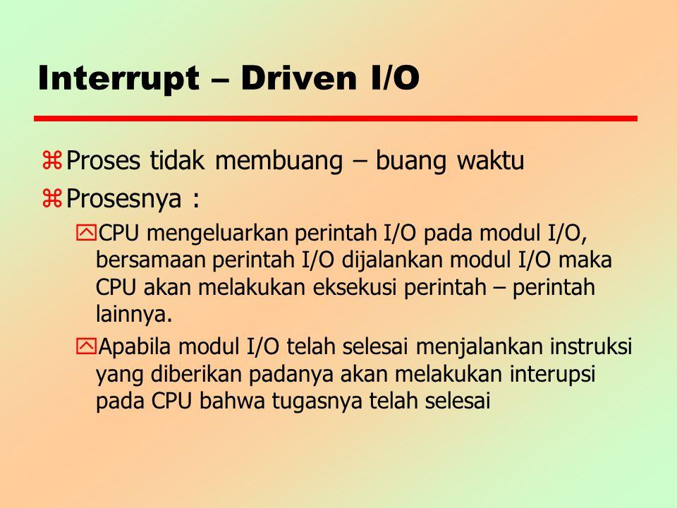 Interrupt – Driven I/O Proses tidak membuang – buang waktu Prosesnya :