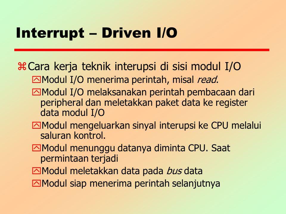 Interrupt – Driven I/O Cara kerja teknik interupsi di sisi modul I/O