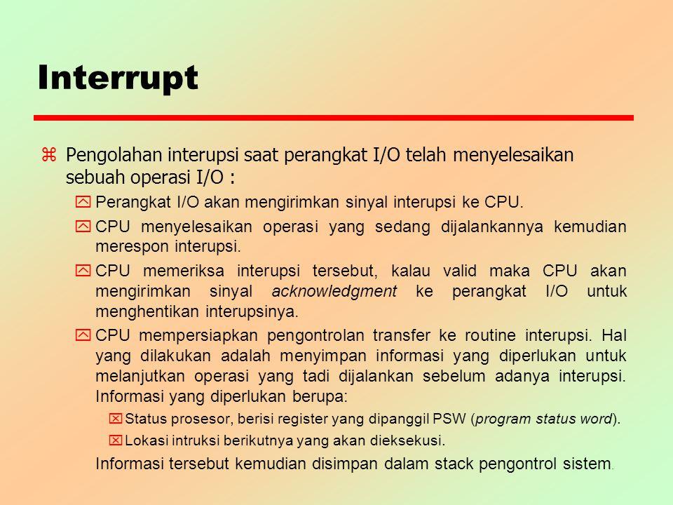 Interrupt Pengolahan interupsi saat perangkat I/O telah menyelesaikan sebuah operasi I/O : Perangkat I/O akan mengirimkan sinyal interupsi ke CPU.