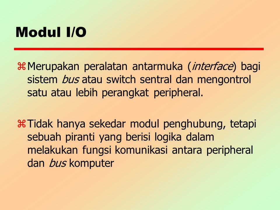 Modul I/O Merupakan peralatan antarmuka (interface) bagi sistem bus atau switch sentral dan mengontrol satu atau lebih perangkat peripheral.