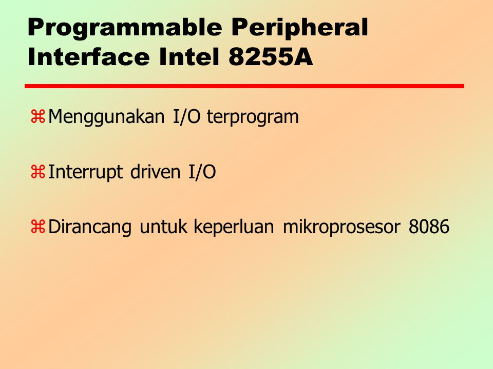 Programmable Peripheral Interface Intel 8255A