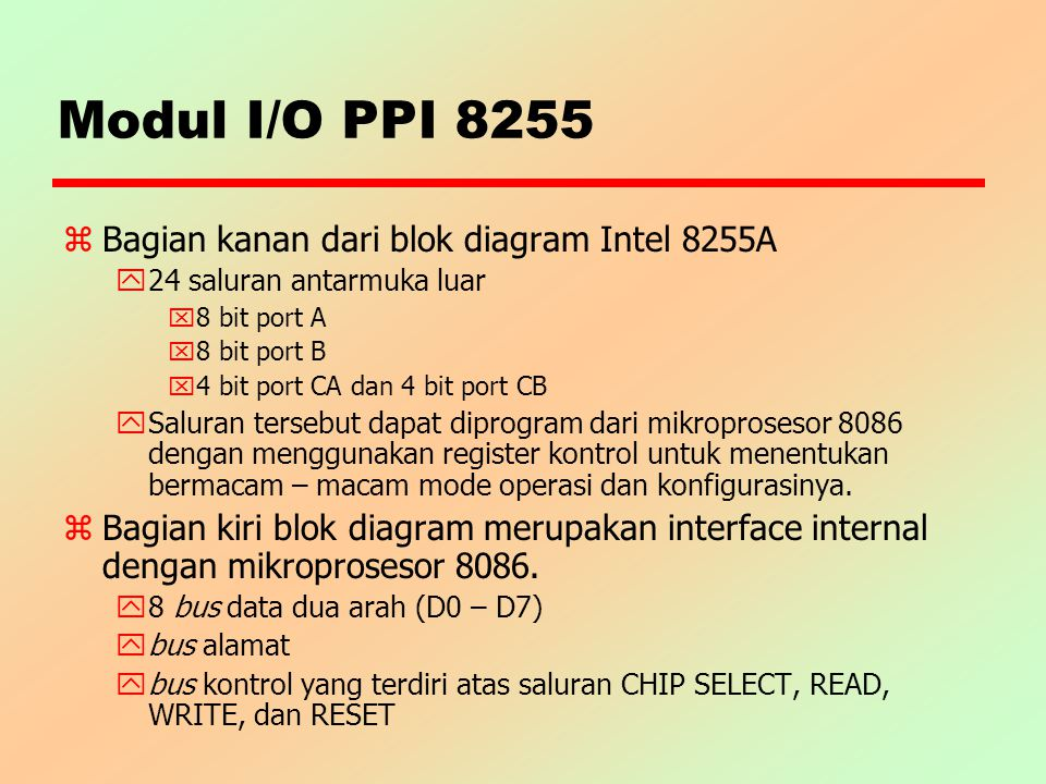 Modul I/O PPI 8255 Bagian kanan dari blok diagram Intel 8255A