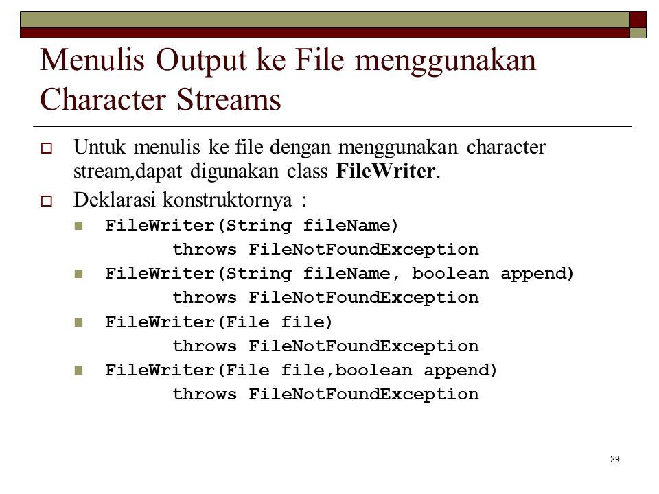Menulis Output ke File menggunakan Character Streams