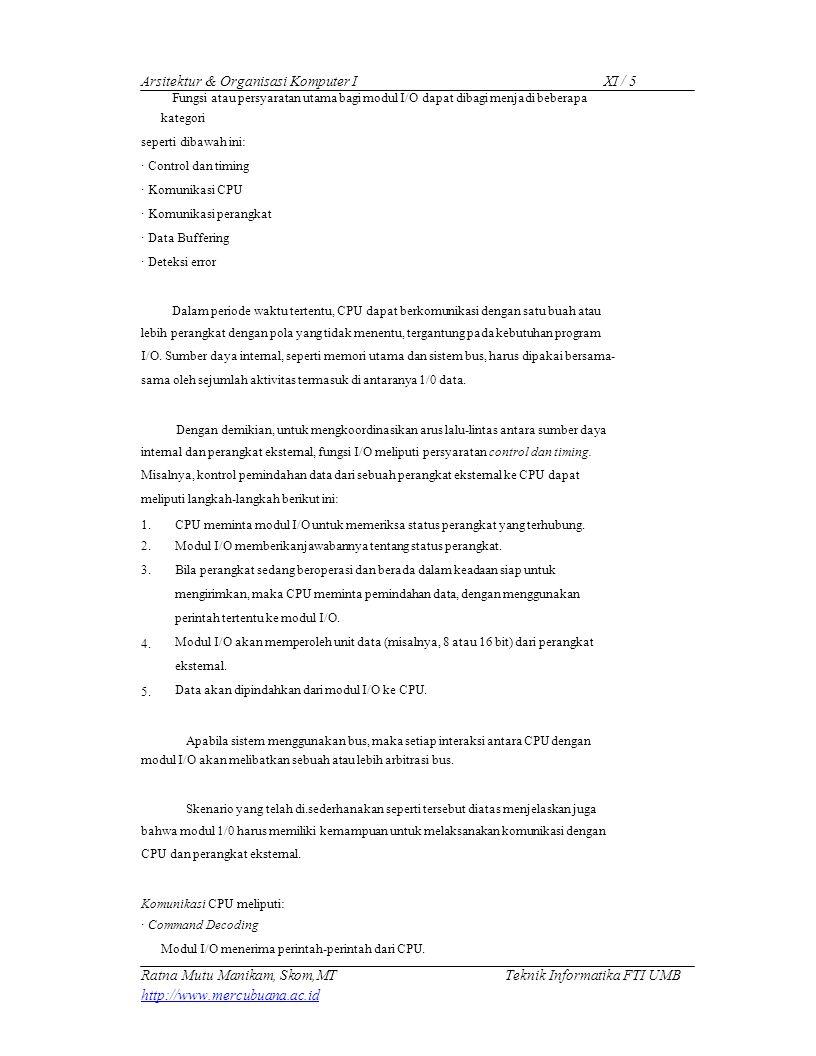 Arsitektur & Organisasi Komputer I