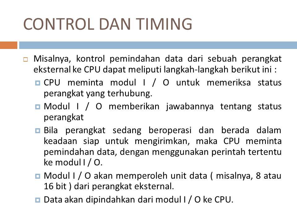 CONTROL DAN TIMING Misalnya, kontrol pemindahan data dari sebuah perangkat eksternal ke CPU dapat meliputi langkah-langkah berikut ini :