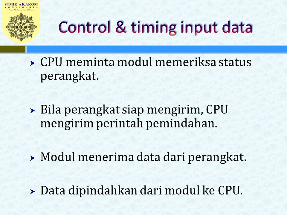 Control & timing input data