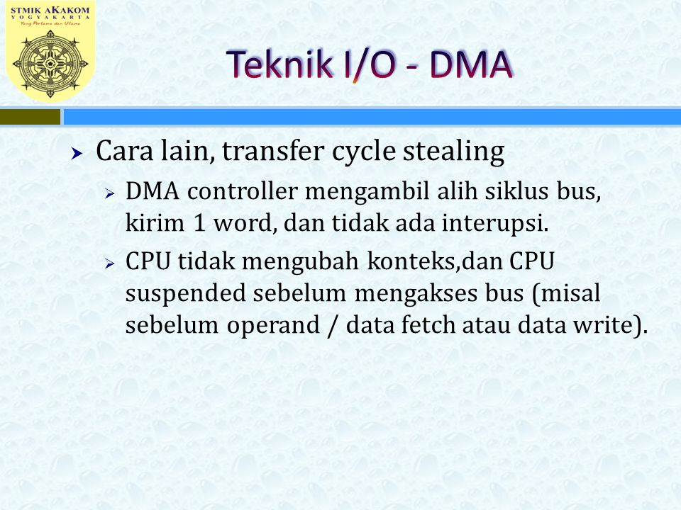 Teknik I/O - DMA Cara lain, transfer cycle stealing