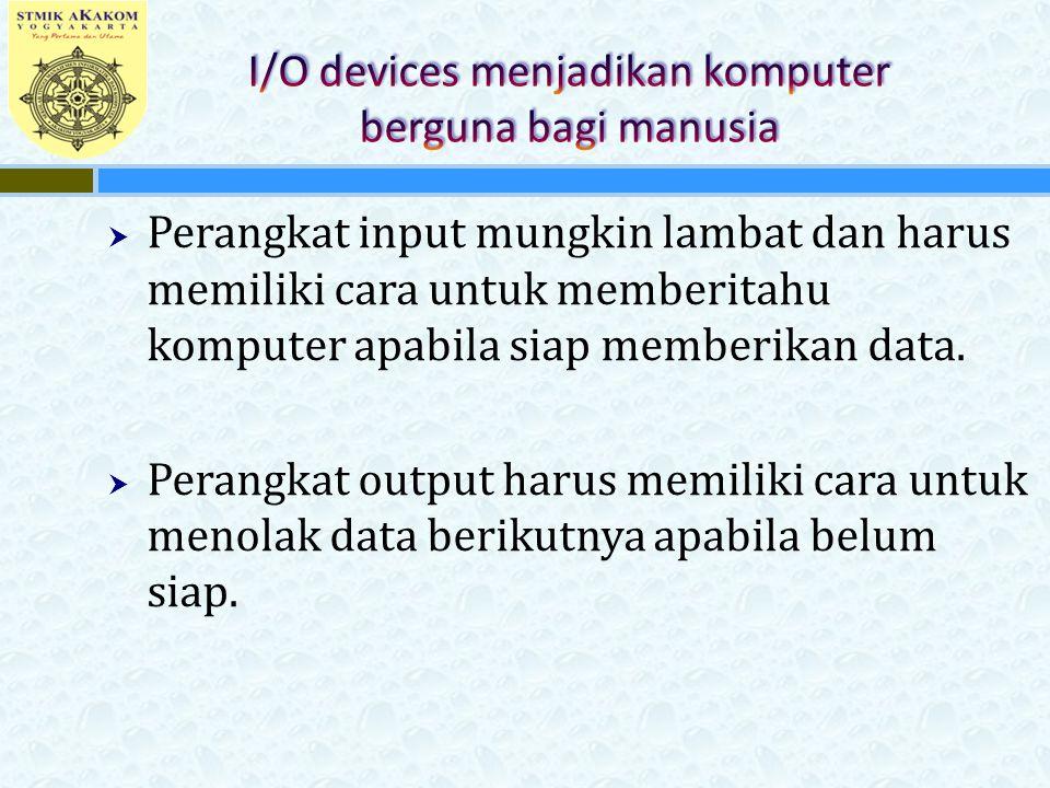 I/O devices menjadikan komputer berguna bagi manusia