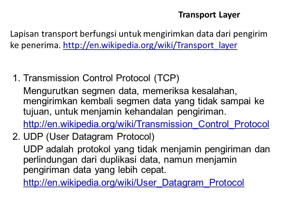 Transport Layer Lapisan transport berfungsi untuk mengirimkan data dari pengirim ke penerima. http://en.wikipedia.org/wiki/Transport_layer.