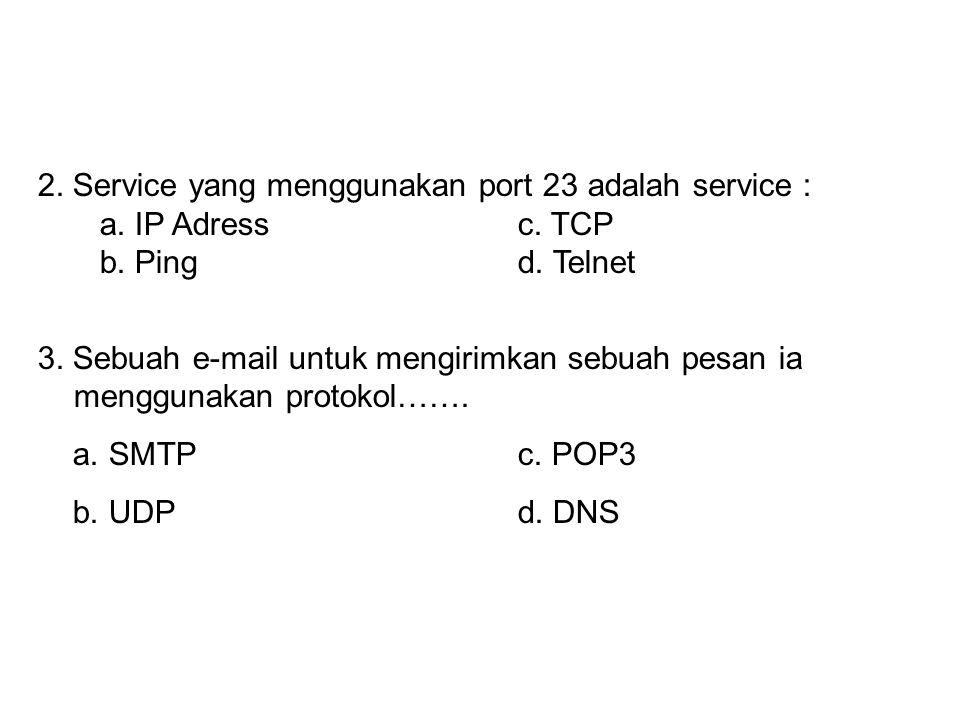 2. Service yang menggunakan port 23 adalah service :