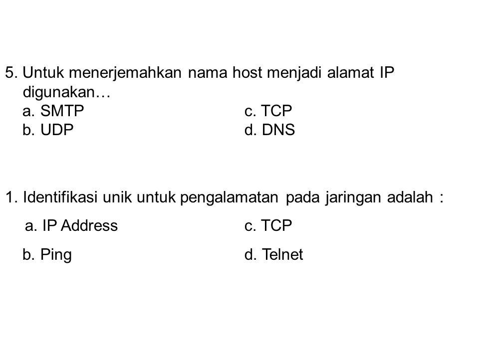 5. Untuk menerjemahkan nama host menjadi alamat IP digunakan…