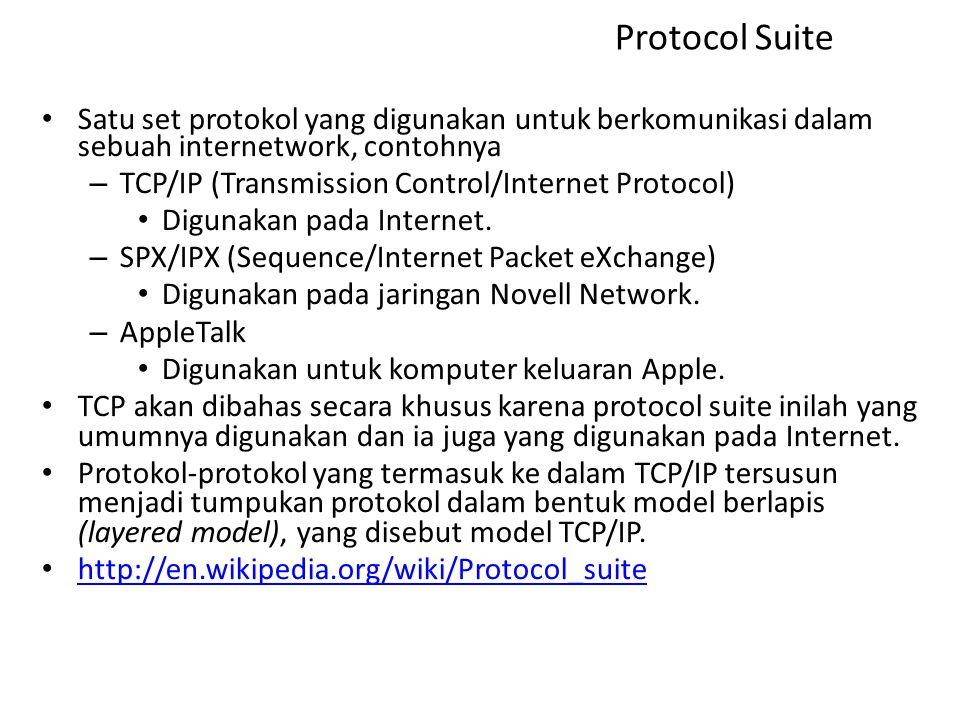 Protocol Suite Satu set protokol yang digunakan untuk berkomunikasi dalam sebuah internetwork, contohnya.