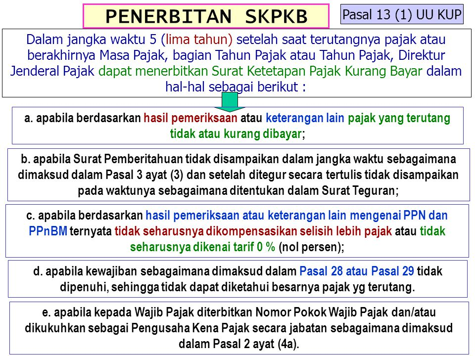 PENERBITAN SKPKB Pasal 13 (1) UU KUP