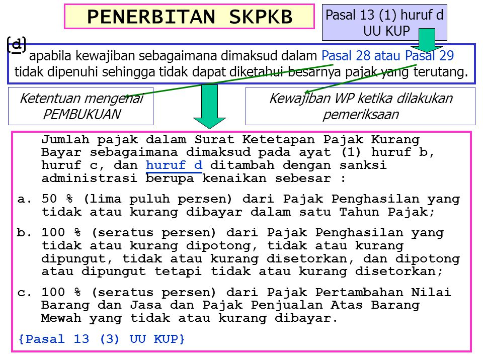 PENERBITAN SKPKB d Pasal 13 (1) huruf d UU KUP