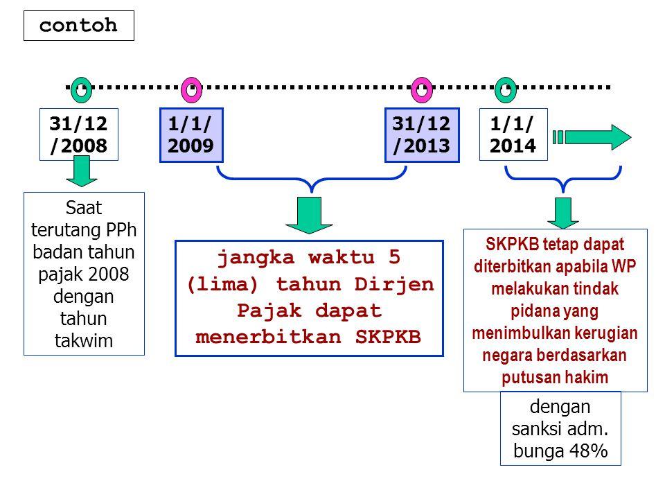 jangka waktu 5 (lima) tahun Dirjen Pajak dapat menerbitkan SKPKB