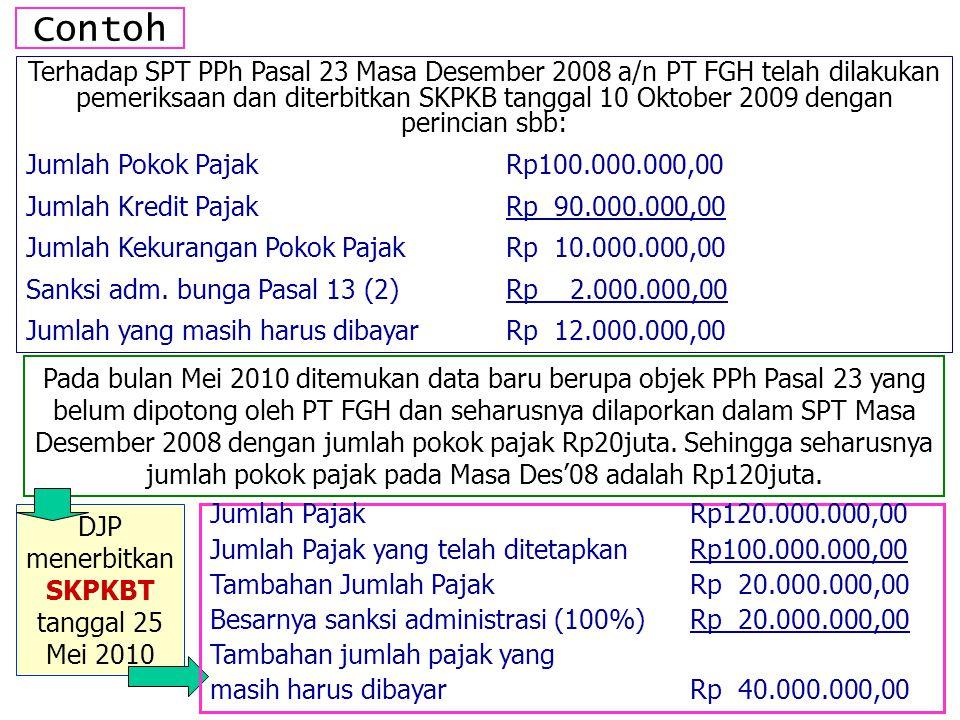 DJP menerbitkan SKPKBT tanggal 25 Mei 2010