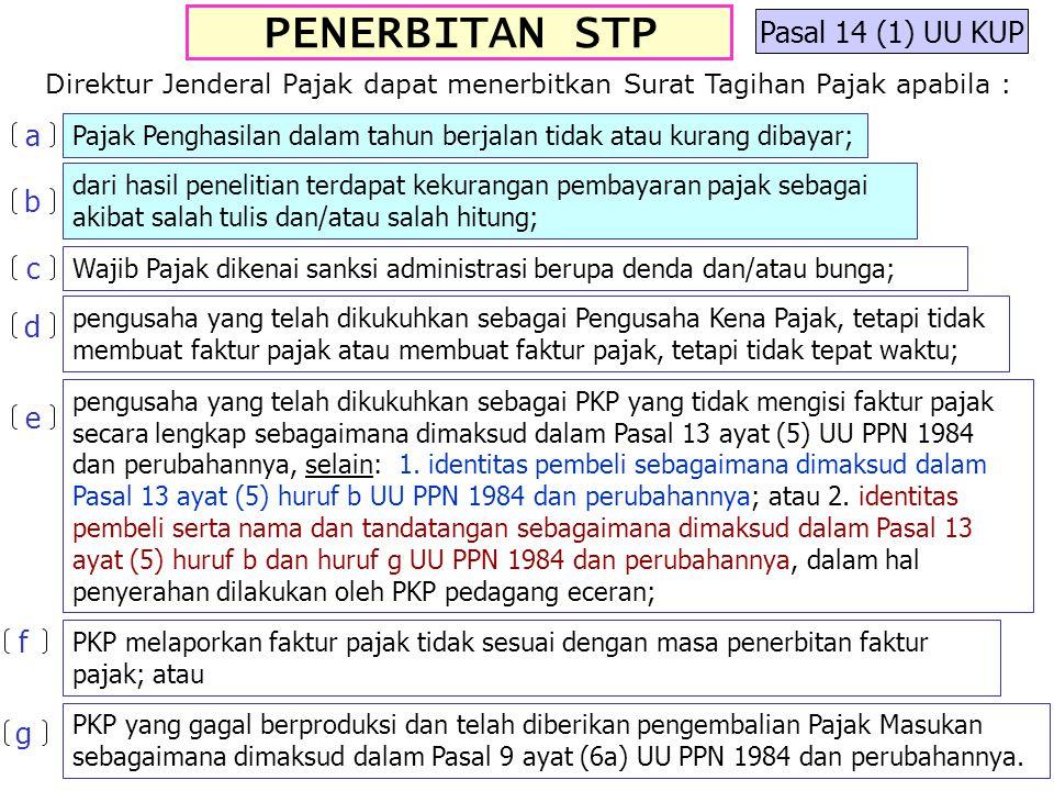PENERBITAN STP Pasal 14 (1) UU KUP a b c d e f g