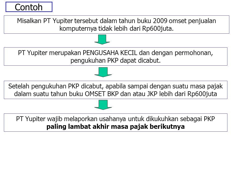 Contoh Misalkan PT Yupiter tersebut dalam tahun buku 2009 omset penjualan komputernya tidak lebih dari Rp600juta.