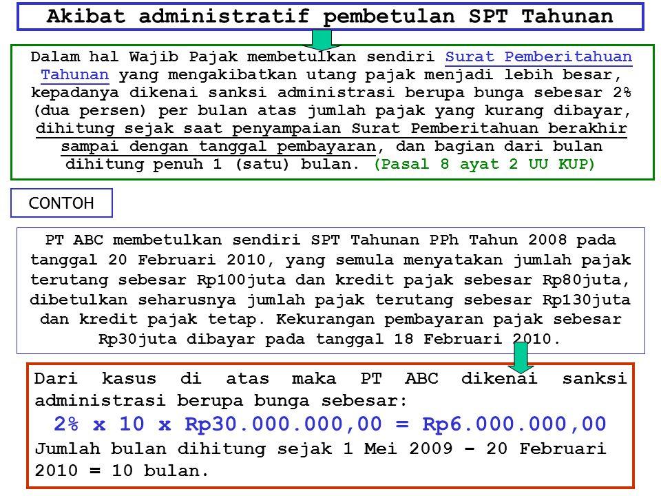 Akibat administratif pembetulan SPT Tahunan