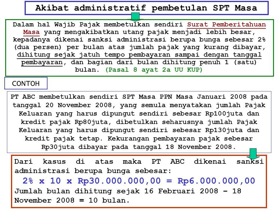 Akibat administratif pembetulan SPT Masa