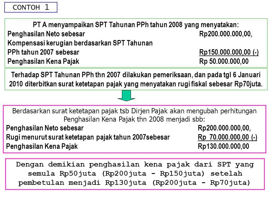 PT A menyampaikan SPT Tahunan PPh tahun 2008 yang menyatakan: