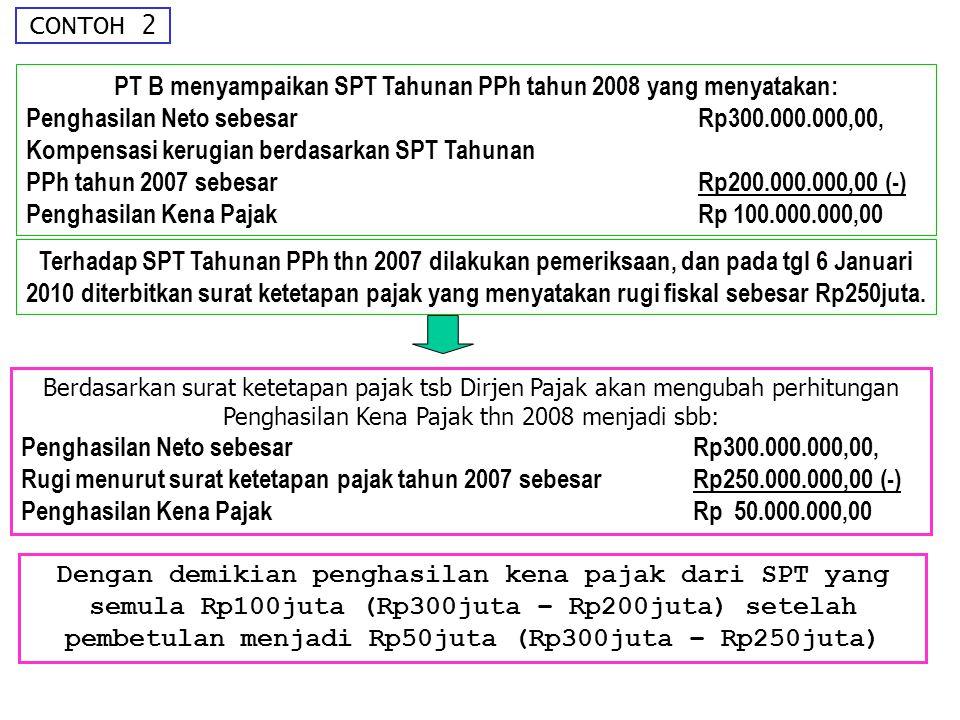 PT B menyampaikan SPT Tahunan PPh tahun 2008 yang menyatakan: