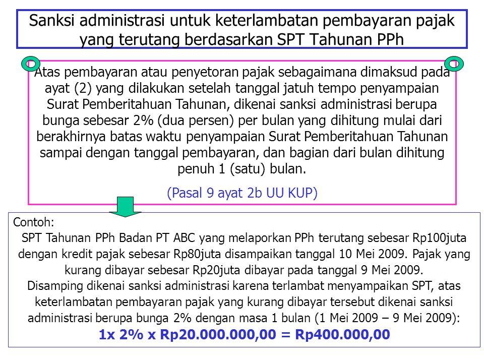 Sanksi administrasi untuk keterlambatan pembayaran pajak yang terutang berdasarkan SPT Tahunan PPh