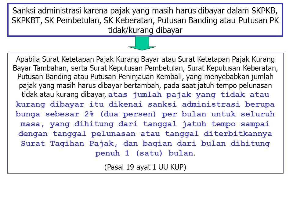 Sanksi administrasi karena pajak yang masih harus dibayar dalam SKPKB, SKPKBT, SK Pembetulan, SK Keberatan, Putusan Banding atau Putusan PK tidak/kurang dibayar