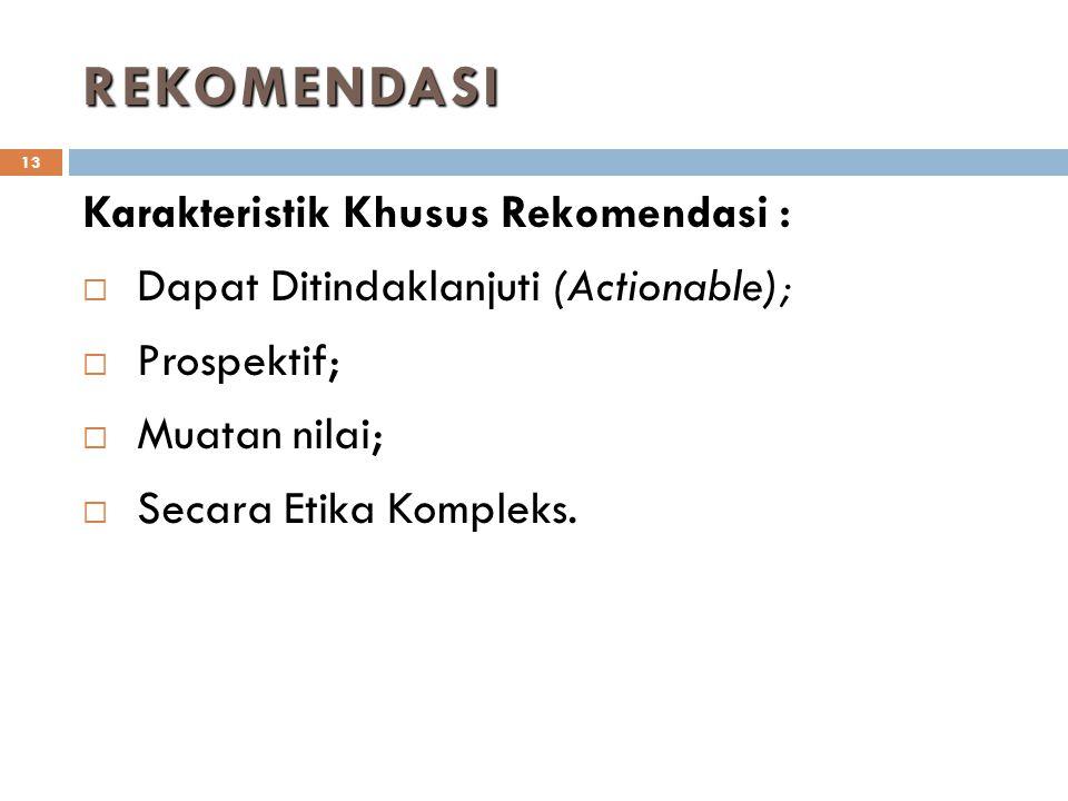 REKOMENDASI Karakteristik Khusus Rekomendasi :