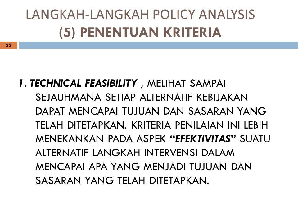 LANGKAH-LANGKAH POLICY ANALYSIS (5) PENENTUAN KRITERIA