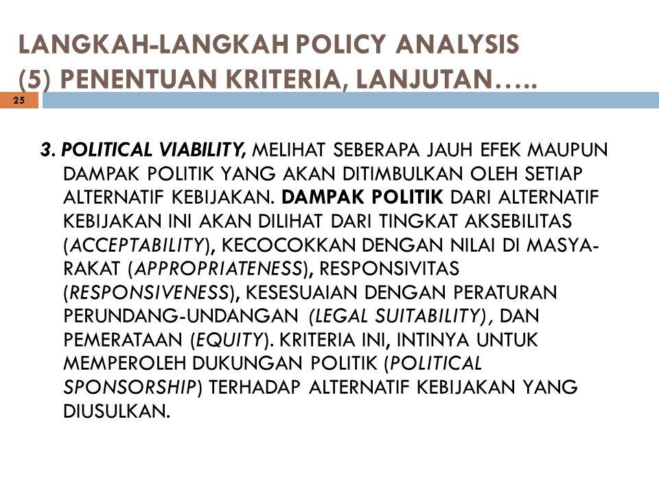 LANGKAH-LANGKAH POLICY ANALYSIS (5) PENENTUAN KRITERIA, LANJUTAN…..