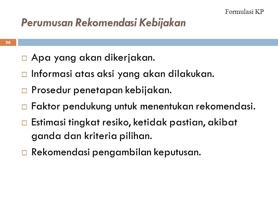 Perumusan Rekomendasi Kebijakan