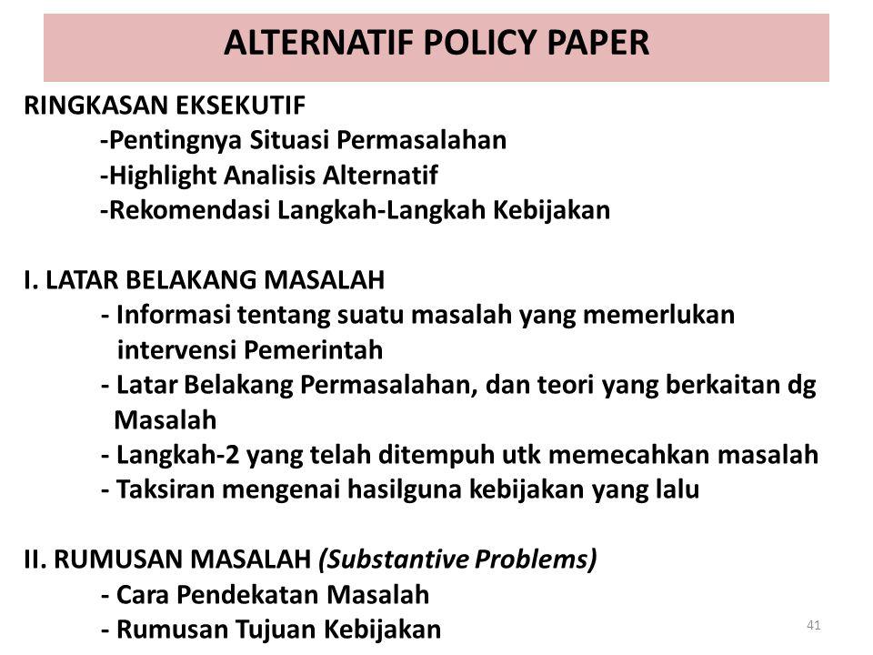 ALTERNATIF POLICY PAPER