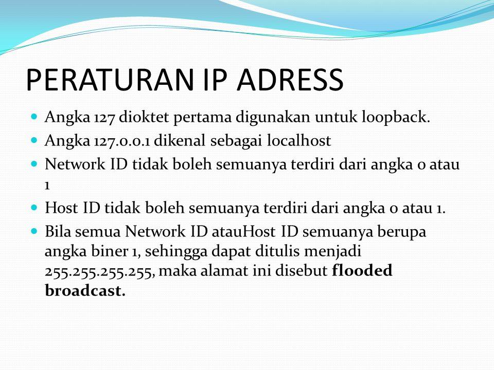 PERATURAN IP ADRESS Angka 127 dioktet pertama digunakan untuk loopback. Angka 127.0.0.1 dikenal sebagai localhost.