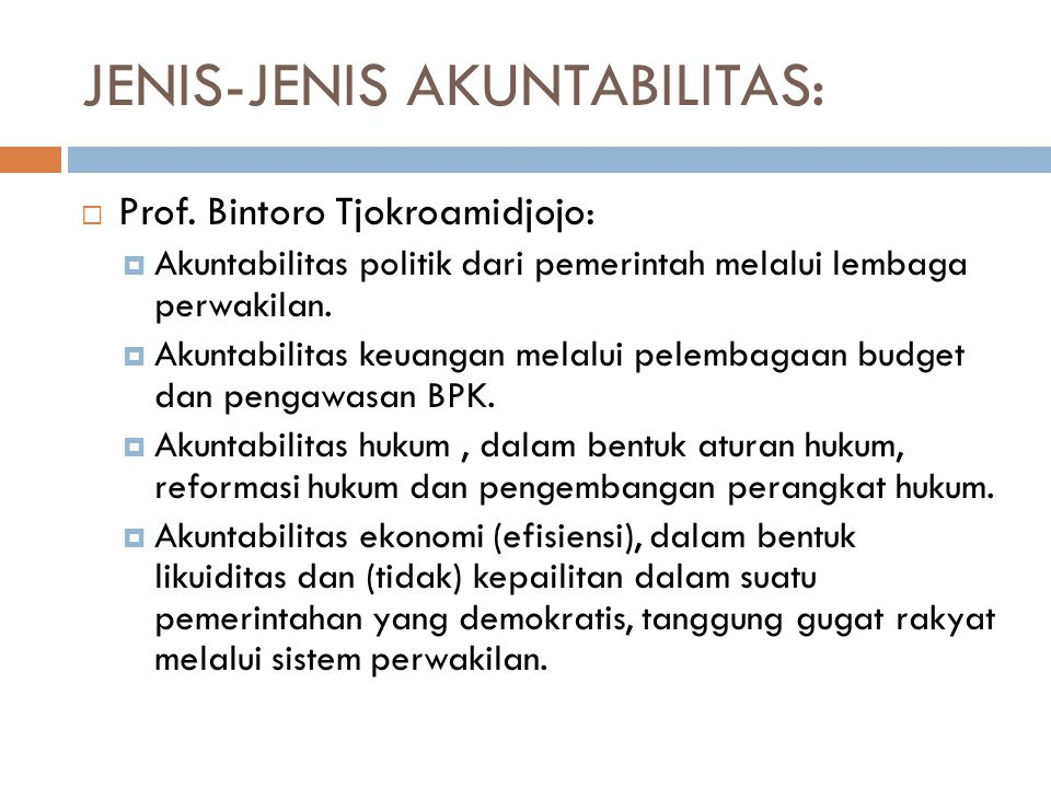 JENIS-JENIS AKUNTABILITAS: