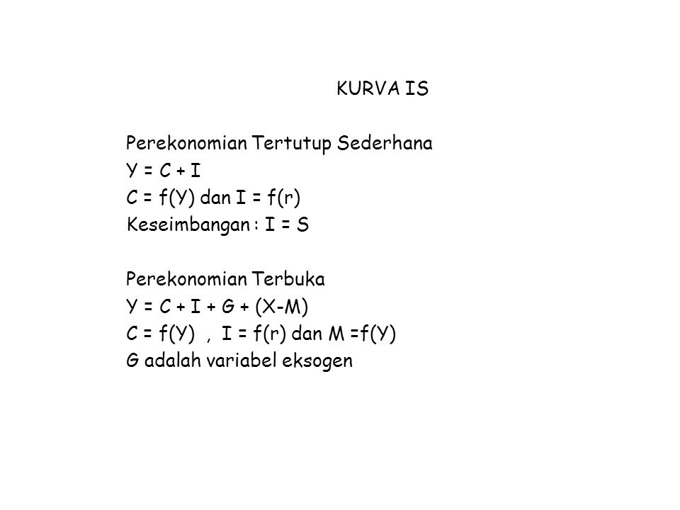 KURVA IS Perekonomian Tertutup Sederhana. Y = C + I. C = f(Y) dan I = f(r) Keseimbangan : I = S.