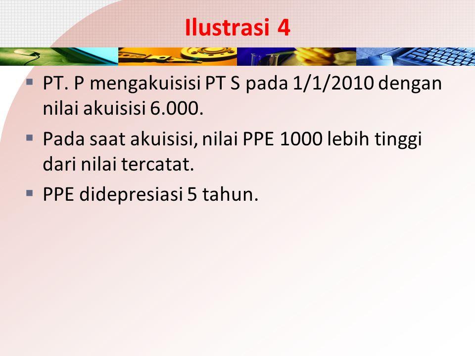 Ilustrasi 4 PT. P mengakuisisi PT S pada 1/1/2010 dengan nilai akuisisi 6.000. Pada saat akuisisi, nilai PPE 1000 lebih tinggi dari nilai tercatat.