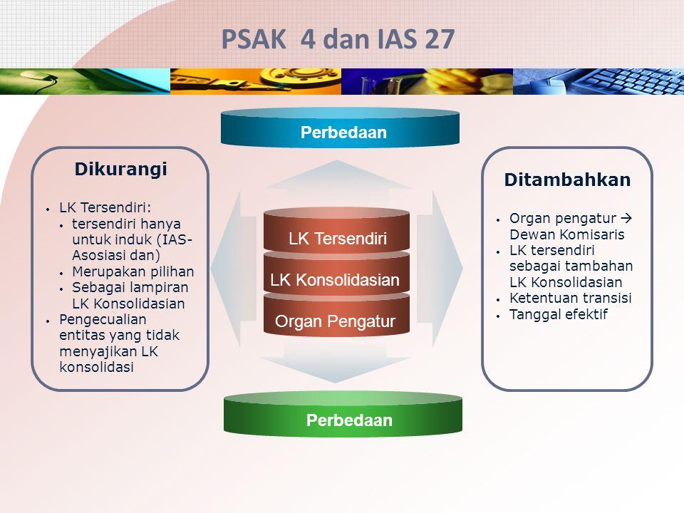 PSAK 4 dan IAS 27 Perbedaan Dikurangi Ditambahkan LK Tersendiri