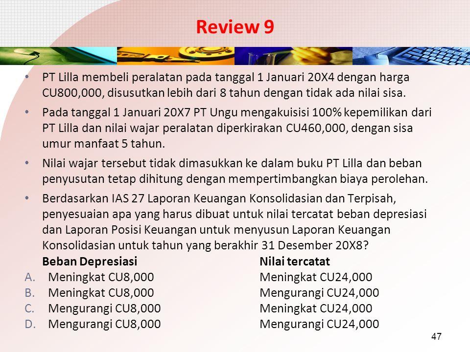 Review 9 PT Lilla membeli peralatan pada tanggal 1 Januari 20X4 dengan harga CU800,000, disusutkan lebih dari 8 tahun dengan tidak ada nilai sisa.
