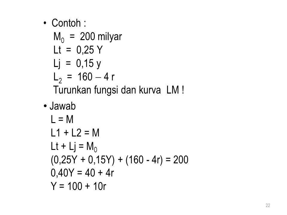 Contoh : M0 = 200 milyar. Lt = 0,25 Y. Lj = 0,15 y. L2 = 160  4 r. Turunkan fungsi dan kurva LM !