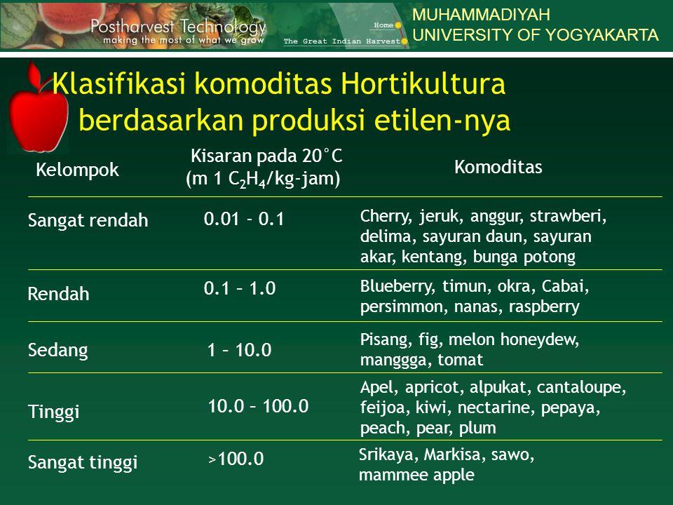 Klasifikasi komoditas Hortikultura berdasarkan produksi etilen-nya