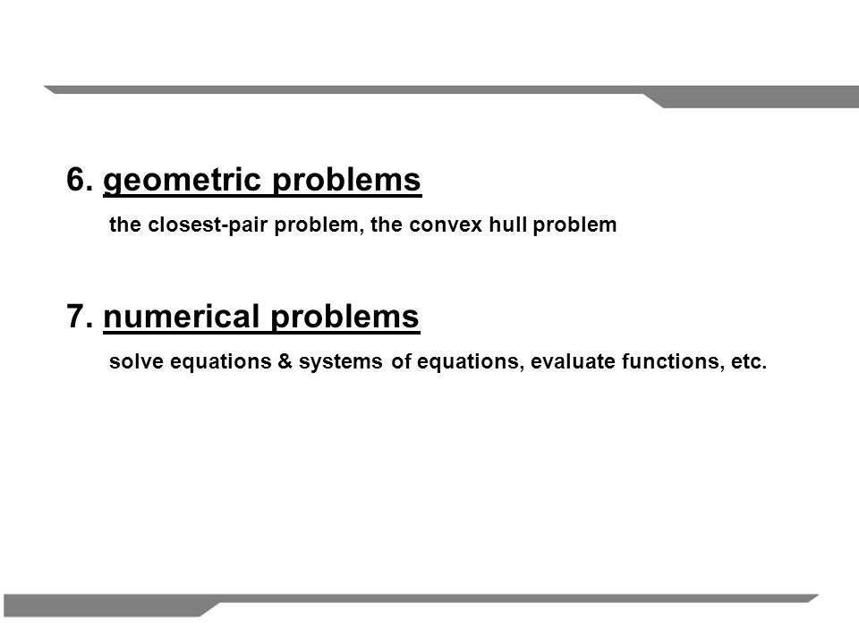 6. geometric problems 7. numerical problems