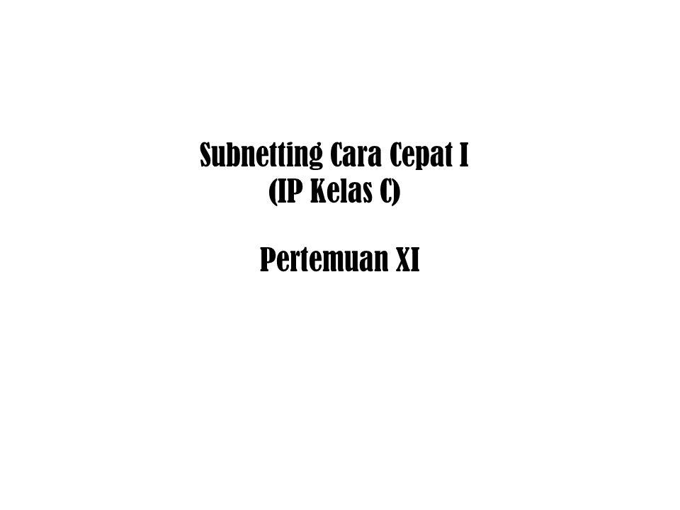 Subnetting Cara Cepat I (IP Kelas C)