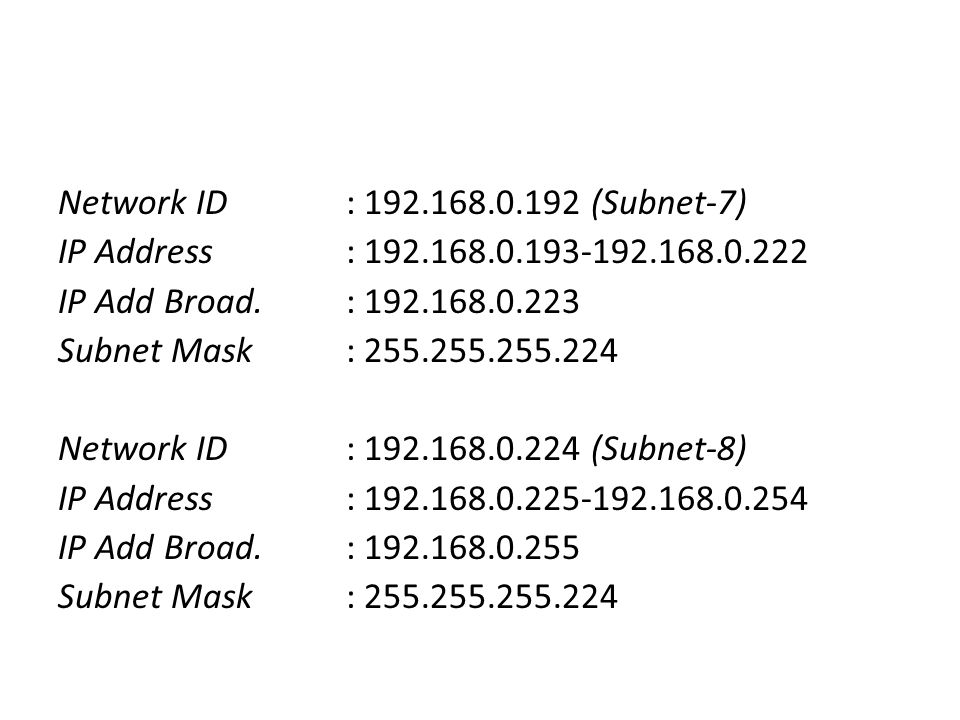 Network ID : 192. 168. 192 (Subnet-7) IP Address : 192. 168. 193-192