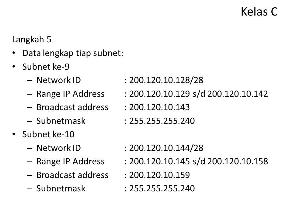 Kelas C Langkah 5 Data lengkap tiap subnet: Subnet ke-9