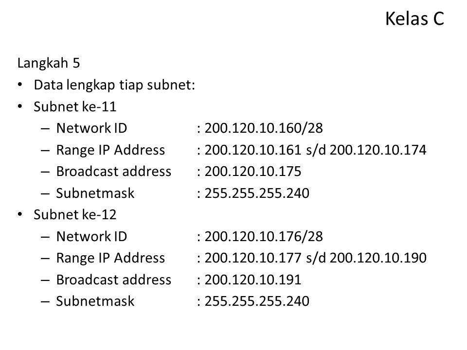 Kelas C Langkah 5 Data lengkap tiap subnet: Subnet ke-11