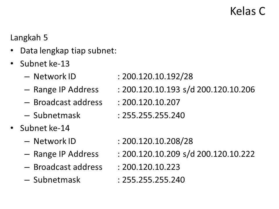 Kelas C Langkah 5 Data lengkap tiap subnet: Subnet ke-13