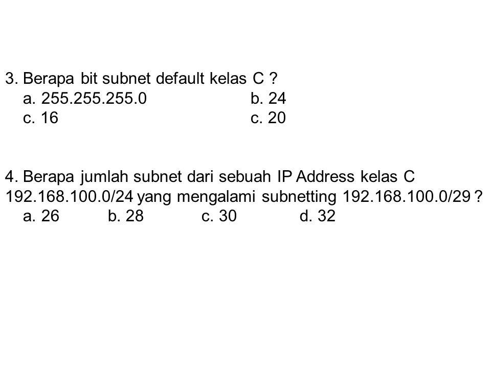 3. Berapa bit subnet default kelas C