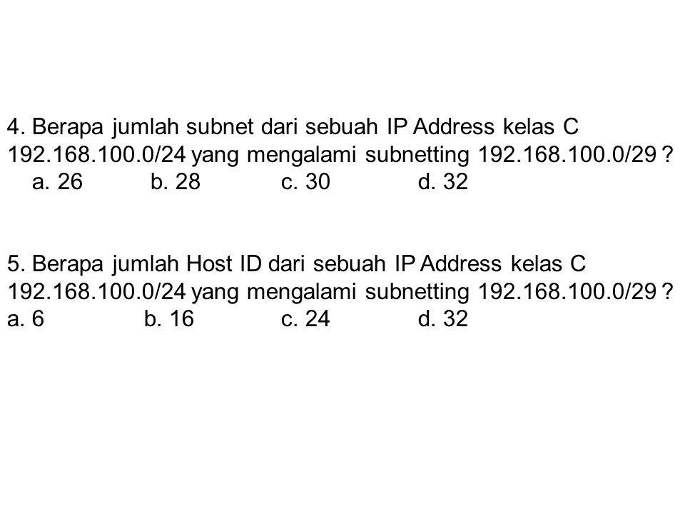 4. Berapa jumlah subnet dari sebuah IP Address kelas C 192. 168. 100